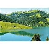Vliesové fototapety švajčiarske horské jazero rozmer 368 x 254 cm - POSLEDNÉ KUSY