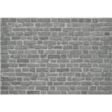 Vliesové fototapety tehlová stena čierna rozmer 368 x 254 cm