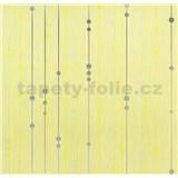 Vinylové tapety na stenu WohnSinn - prúžky s guličkami strieborno-zelené