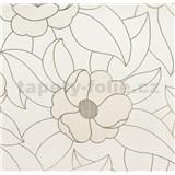 Vinylové tapety na stenu WohnSinn - kvety svetlo hnedé so zlatými kontúrami