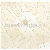 Vinylové tapety na stenu WohnSinn - kvety biele s béžovými kontúrami