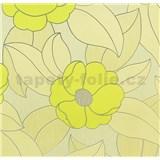 Vinylové tapety na stenu WohnSinn - kvety zelené so striebornými kontúrami