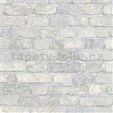Vliesové tapety na stenu 3D tehly bielo-krémové s výraznou plastickou štruktúrou
