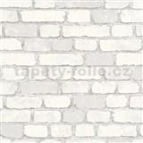 Vliesové tapety na stenu Brique 3D tehly biele s výraznou plastickou štruktúrou
