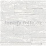 Vliesové tapety na stenu Brique 3D ukladané kamene biele s výraznou plastickou štruktúrou