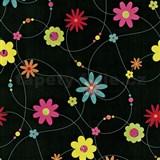Papierové tapety na stenu X-treme Colors - kvety farebné na čiernom podklade