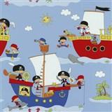 Papierové tapety na stenu Dieter Bohlen 4 Kidz piráti na červenej lodi