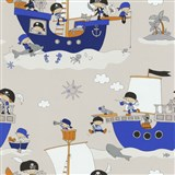 Papierové tapety na stenu Dieter Bohlen 4 Kidz piráti na modrej lodi