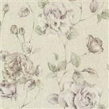 Tapety na stenu Antique - ruže fialovo-ružové na svetle ružovom podklade
