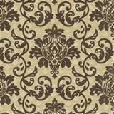Vliesová tapeta na stenu Florence zámocký vzor tmavo hnedý na béžovom podklade