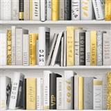 Vliesové tapety na stenu Virtual Vision knižnica sivo-žltá