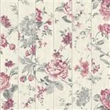 Vliesové tapety na stenu Virtual Vision drevené laty s kvety ružové