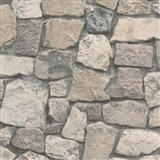 Vliesové tapety na stenu Wood'n Stone kamenný múr hnedý