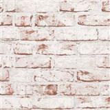 Vliesové tapety na stenu Wood'n Stone tehla červená s bielym náterom