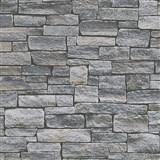 Vliesové tapety na stenu Wood'n Stone kameň skladaný sivo-hnedý
