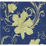 Vliesové tapety na stenu Carat kvety zlaté na modrom podklade