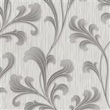 Vliesové tapety na stenu Como - listy sivo-strieborné
