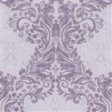 Vliesové tapety na stenu Como - barokový vzor fialový s fialovo-strieborným ornamentom