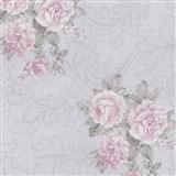 Vliesové tapety na stenu Como - ruže ružové na sivom podklade