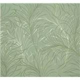 Vliesové tapety Estelle listy zeleno-strieborné na zelenom podklade
