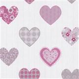 Papierové tapety na stenu Happy Kids 2 - srdiečka ružové