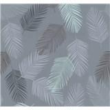 Vliesové tapety na stenu Infinity perie modré, hnedé, sivé