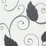 Tapety na stenu Suprofil - čierne listy s lesklým ornamentom na bielom podklade