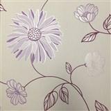 Vliesové tapety na stenu Summer Special - kvety fialové na bielom podklade