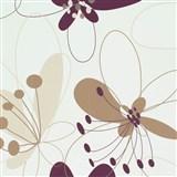 Vliesové tapety na stenu Suprofil Selection kvety hnedo-fialové