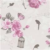 Vliesové tapety na stenu Zuhause Wohnen3 - Vintage Bird svetlo ružové