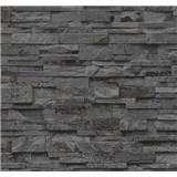 Vliesové tapety na stenu Origin - kameň pieskovec tmavo sivo-hnedý