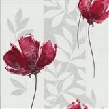 Vliesové tapety - vlčí mak červený so striebornými listami na bielom podklade