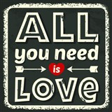 Retro tabule All You Need is Love 30 x 30 cm