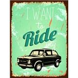 Retro tabule Ride My Car 40 x 30 cm