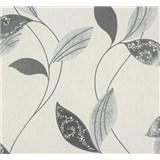 Vliesové tapety na stenu Suprofil Style - listy sivo-strieborne na bielom podklade