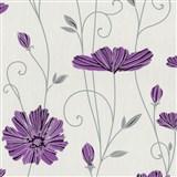Vliesové tapety na stenu Tribute - kvety mákov fialové na bielom podklade