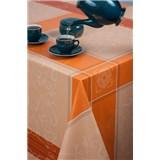 Obrusy metráž kocky s ormanenty hnedo-oranžové